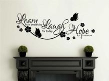 "Inspirational Wall Quote ""Learn, Laugh, Hope"" Wall Art Sticker, Vinyl Decal,PVC"